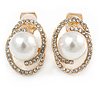 Oval Clear Crystal, White Faux Pearl Clip On Earrings In Gold Tone - 18mm