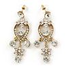 Clear Austrian Crystal Chandelier Earrings In Gold Plating - 60mm L