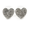 Small Silver Tone Clear Crystal Heart Stud Earrings - 13mm