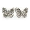 Silver Plated Clear Austrian Crystal 'Alegria' Butterfly Stud Earrings - 18mm Width
