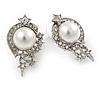 Clear Crystal Faux Pearl 'Stars' Stud Drop Earrings In Rhodium Plated Metal - 30mm L