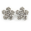 Clear Crystal, Faux Pearl Flower Stud Earrings In Silver Tone - 25mm Diameter