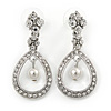 Bridal/ Prom/ Wedding Clear Crystal Open Teardrop Earrings In Rhodium Plating Metal - 40mm L
