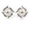 Bridal Faux Glass Pearl, Crystal Floral Stud Earrings In Rhodium Plating - 17mm
