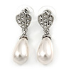 Clear Crystal Faux Pearl Teardrop Earrings In Rhodium Plated Metal - 37mm L
