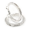 30mm Medium Clear Crystal Hoop Earrings In Rhodium Plated Metal
