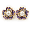 Purple Enamel, Clear Crystal Faux Glass Pearl Flower Stud Earrings In Gold Tone Metal - 20mm D