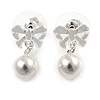 Delicated Faux Pearl Bow Drop Earrings In Silver Tone - 20mm L