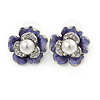 Purple Enamel, Clear Crystal Faux Glass Pearl Flower Stud Earrings In Silver Tone Metal - 20mm D