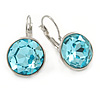 Aqua Blue Round Glass Drop Earrings In Rhodium Plating with Leverback/ French Hook Closure - 27mm L