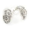 20mm C Shape Clear Crystal Leaf Drop Earrings In Rhodium Plating
