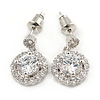 Small Round Clear Cz Drop Earrings In Rhodium Plating - 17mm L