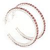 Pink Crystal Hoop Earrings In Rhodium Plating - 60mm D