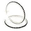 Jet Black Crystal Hoop Earrings In Rhodium Plating - 60mm D