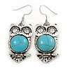 Vintage Inspired Turquoise Style Stone Owl Drop Earrings In Silver Tone - 45mm L