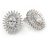 Stunning Clear CZ Oval Stud Earrings In Rhodium Plating - 20mm L