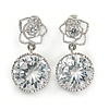Stunning Round Cut Clear CZ Floral Drop Earrings In Rhodium Plated Alloy - 20mm L