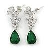 Delicate Clear/ Emerald Green Cz Teardrop Earrings In Rhodium Plated Alloy - 35mm L