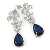 Delicate Clear/ Midnight Blue Cz Teardrop Earrings In Rhodium Plated Alloy - 35mm L