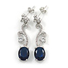 Delicate Clear/ Navy Blue Cz Oval Drop Earrings In Rhodium Plated Alloy - 35mm L