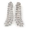 Stunning Clear CZ Slim Leaf Stud Earrings In Rhodium Plating - 33mm L