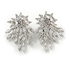 Shooting Star Bling Cz Front Back Stud Earrings In Rhodium Plating Alloy - 30mm Tall