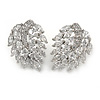 Stunning Clear CZ Leaf Stud Earrings In Rhodium Plating - 25mm L
