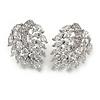 Stunning Clear CZ Leaf Stud Earrings In Rhodium Plating - 25mm L