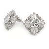 Statement Clear Cz Square Stud Earrings In Rhodium Plated Alloy - 17mm