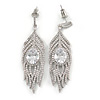 Statement Clear CZ Peacock Feather Drop Earrings In Rhodium Plating - 55mm L