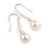Delicate Teardrop Freshwater Pearl Earrings In Rhodium Plating - 30mm Long