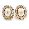 Crystal, Faux Pearl Oval Shape Clip On Stud Earrings In Gold Plating - 22mm L