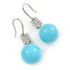 Light Blue Ceramic Bead Clear CZ Drop Earrings 925 Sterling Silver - 40mm L