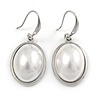 Oval Dome Faux Glass Pearl Drop Earrings In Rhodium Plated Alloy - 35mm L