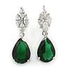 Statement Clear/ Emerald Green Cz Teardrop Earrings In Rhodium Plated Alloy - 30mm L