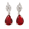 Statement Clear/ Red Cz Teardrop Earrings In Rhodium Plated Alloy - 30mm L