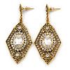 Art Deco Clear Crystal Drop Earrings In Gold Tone Metal - 65mm L
