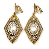 Art Deco Clear Crystal Drop Clip On Earrings In Aged Gold Tone Metal - 65mm L