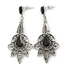 Vintage Inspired Filigree Crystal Chandelier Earrings In Aged Silver Tone - 63mm L