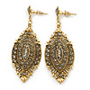 Vintage Inspired Crystal Filigree Leaf Drop  Earrings In Aged Gold Tone - 65mm L