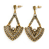 Vintage Inspired Chandelier Crystal Earrings In Aged Gold Tone - 60mm L
