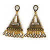 Vintage Inspired Chandelier Crystal Filigree Clip On Earrings In Aged Gold Tone - 60mm L