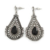 Vintage Inspired Teardrop Crystal Dangle Earrings In Aged Silver Tone - 60mm L