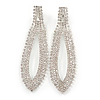 Long Bridal/ Wedding/ Prom Clear Crystal Chandelier Clip On Earrings In Silver Tone - 85mm L