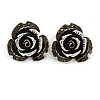 Vintage Inspired Grey Coloured Crystal Rose Stud Earrings In Silver Tone - 22mm Diameter