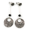 Long Vintage Inspired Textured Disk Metal Bar Clip On Earrings In Aged Silver Tone - 80mm L