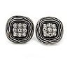 Vintage Inspired Clear Crystal Square Shape Clip On Earrings - 20mm L
