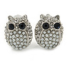 Silver Tone Crystal Faux Pearl Owl Stud Clip On Earrings - 20mm L