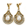 Vintage Inspired Teardrop Crystal, Faux Pearl Dangle Earrings In Aged Gold Tone - 50mm L