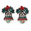 Vintage Inspired Christmas 'Jingle Bells' Crystal Stud Earrings In Aged Silver Tone Metal - 20mm L
